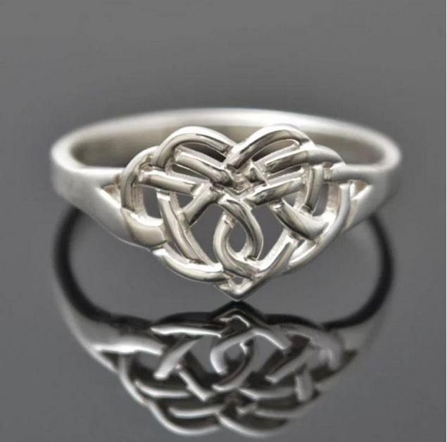 Irish Claddagh Knot Sterling Silver Ring