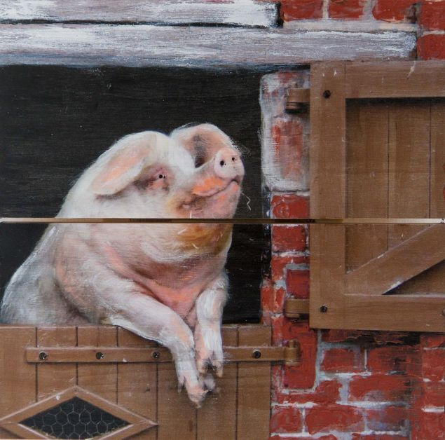 Happy Gilmore the Pig Original Painting on Wood