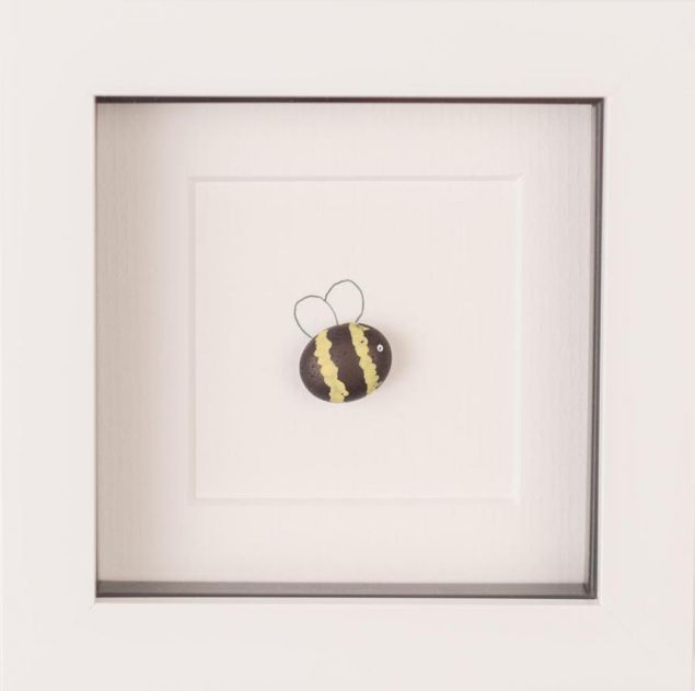 Mini Bumble Bee Pebble Art Framed Picture