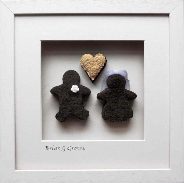 Large Irish Bog Framed Art of a Bride and Groom with a Gold Heart