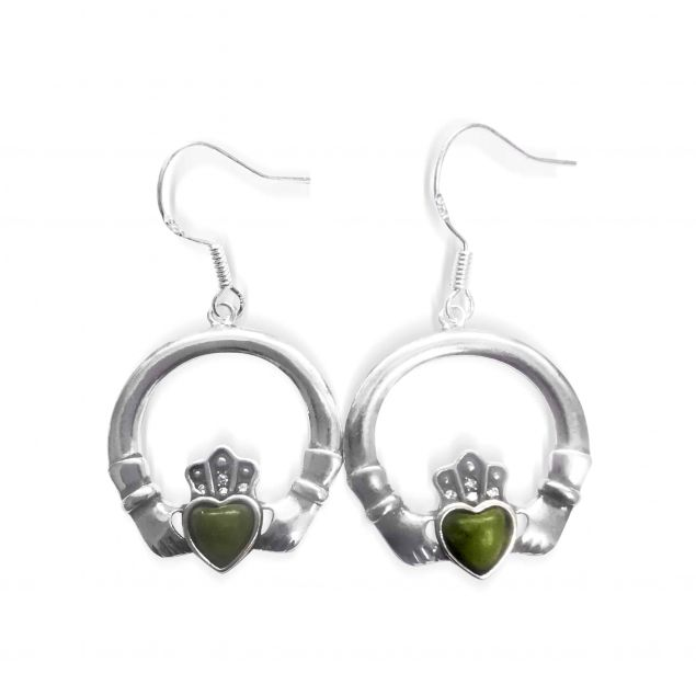 Connemara Marble Claddagh Earrings Sterling Silver