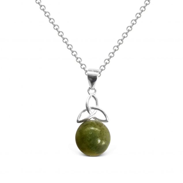Connemara Marble Trinity Knot Pendant Sterling Silver