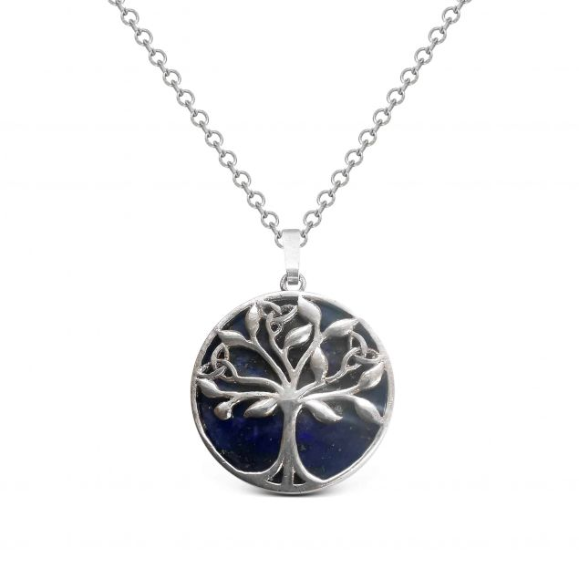 Lapis Lazuli Tree of Life Pendant Necklace Sterling Silver