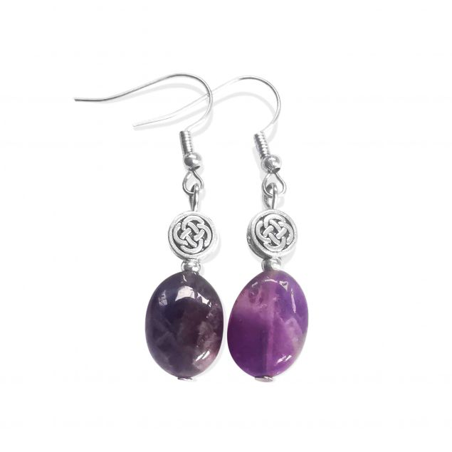 Oval Amethyst Celtic Knot Earrings