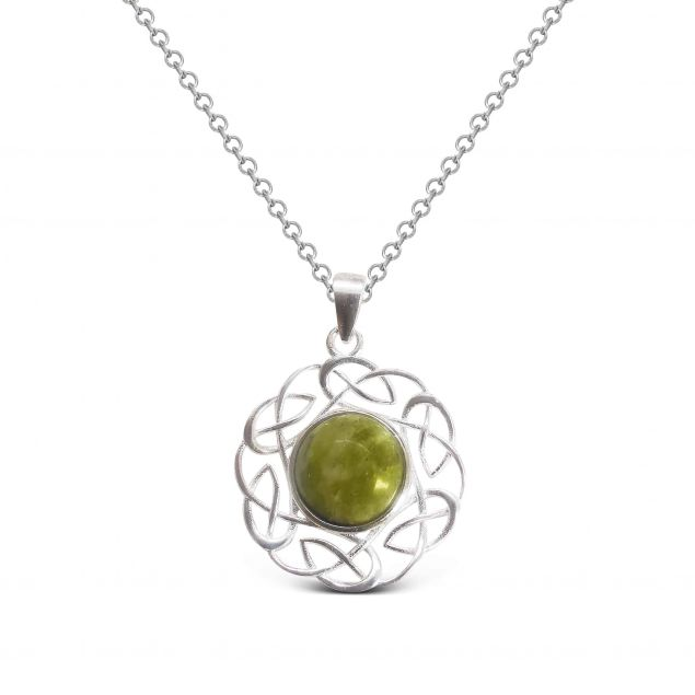 Silver and Connemara Marble Celtic Knot Pendant Necklace