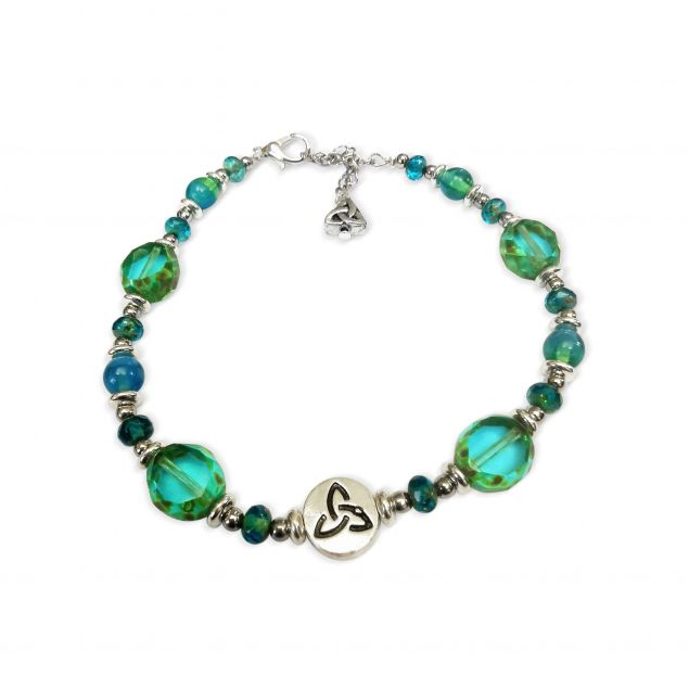 Table Cut Czech Glass Turquoise Bracelet (Handmade Irish Jewellery)