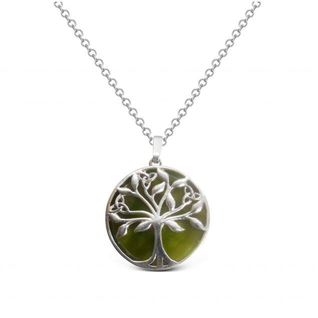 Tree Of life Connemara Marble Pendant Necklace Sterling Silver