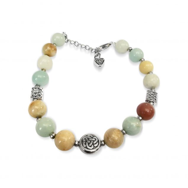 Amazonite Gemstone Celtic Bracelet Handmade Irish Jewellery