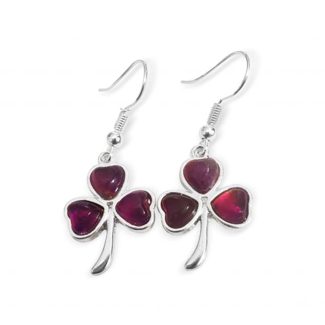 Amethyst Gemstone love heart Shamrock drop earrings (Handmade in Ireland)