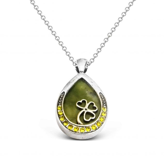 Teardrop Shamrock Pendant with Connemara Marble Inlay and Olive Crystals