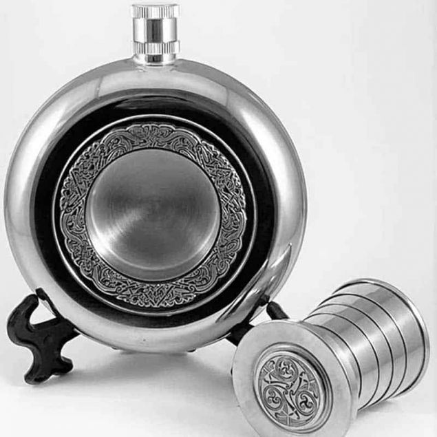 Irish Round Whiskey Flask with Cup - Celtic Spirals