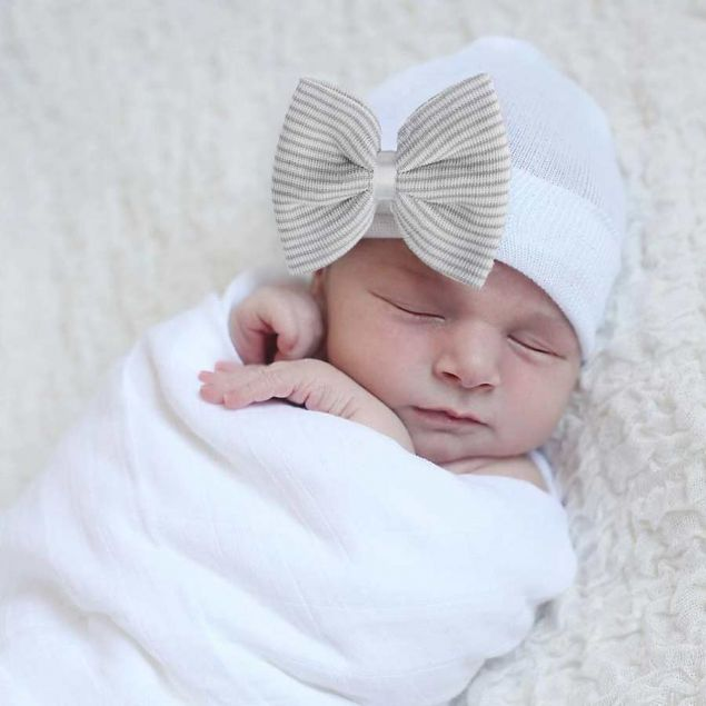 Newborn Baby Hat White with Grey Bow
