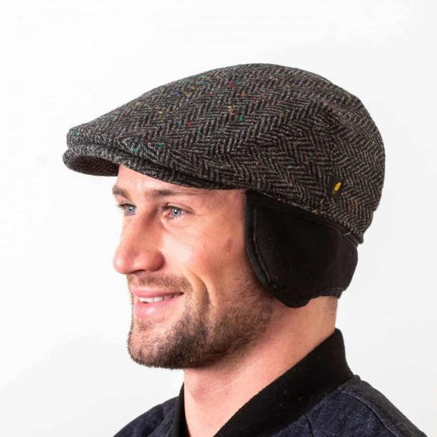 Tweed Cap with Ear Flaps - Charcoal - Dubliner Style