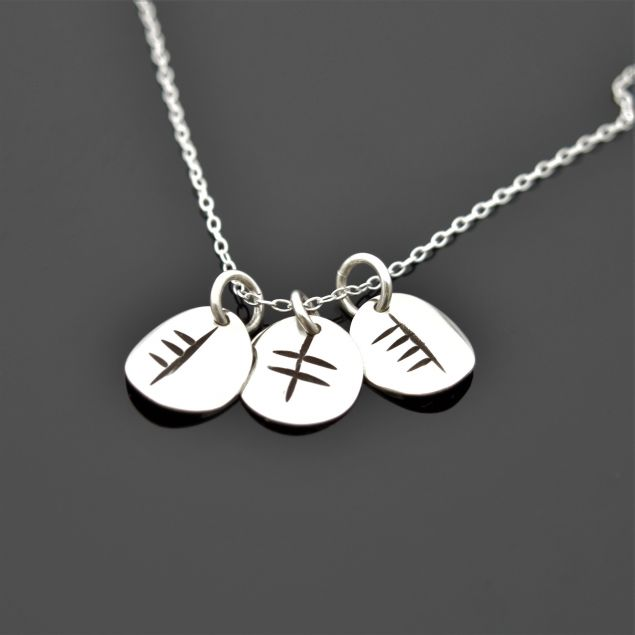 Personalised Sterling Silver Ogham Initial Necklace with Discs