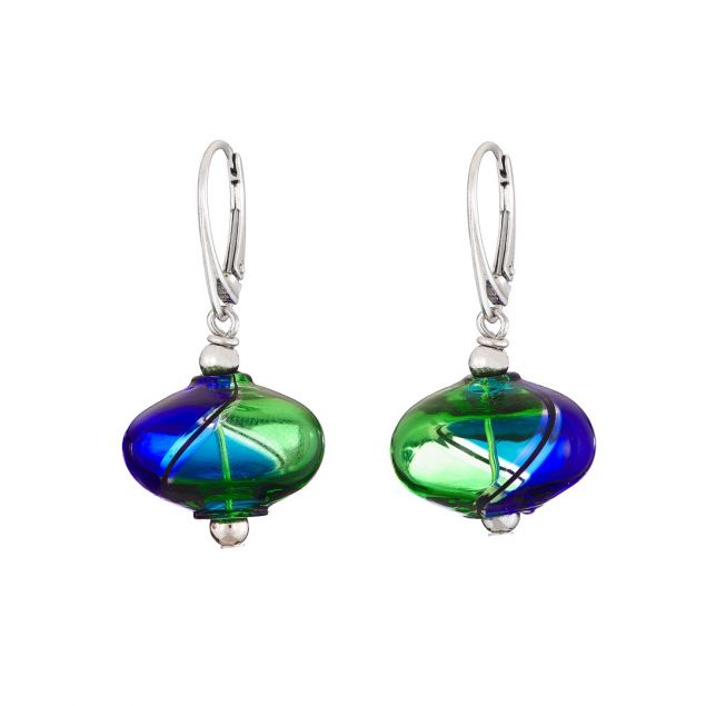 """Bubble Blue"" Murano Glass Earrings"
