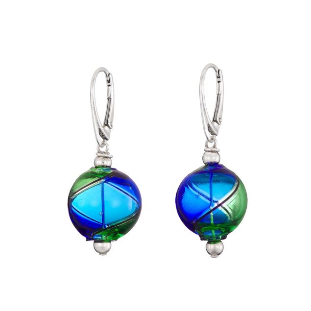 Bubble Blue Round Murano Glass Sterling Silver Earrings