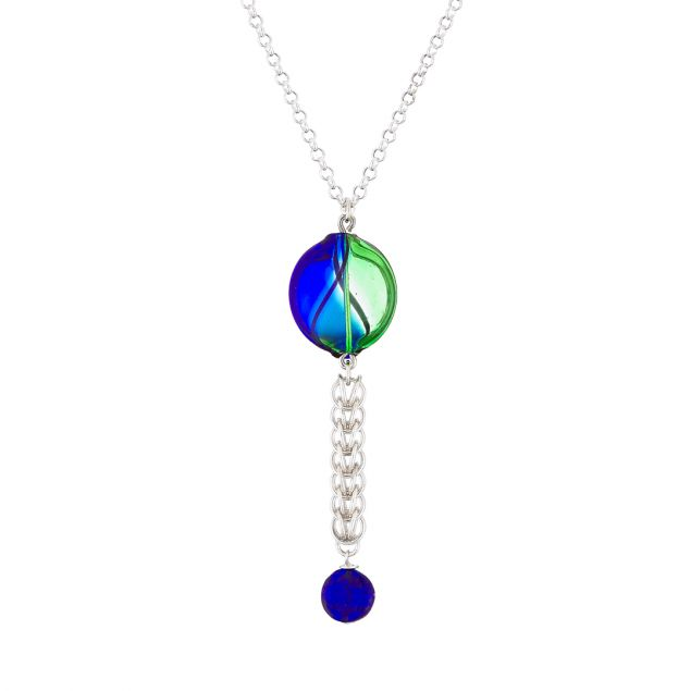 """Bubble Blue"" Sterling Silver and Murano Glass Necklace"