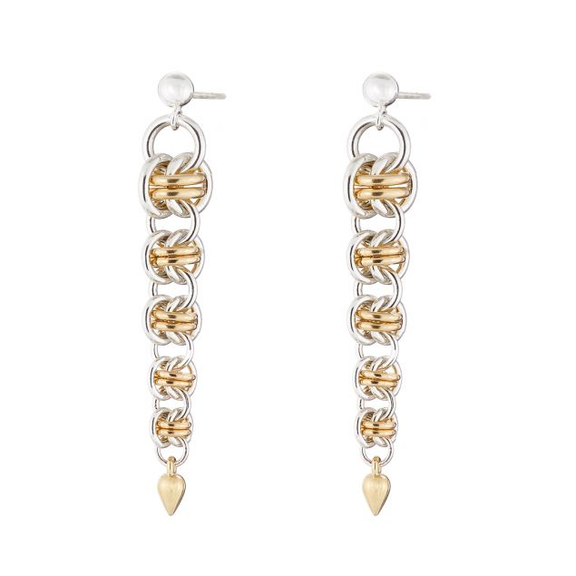 """""""Gold Orbit"""" Sterling Silver & Gold Filled Chainmail Earrings"""