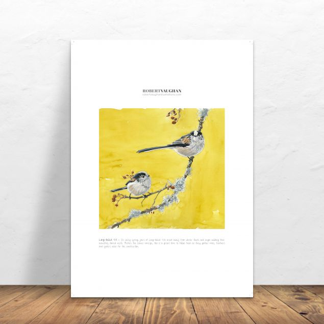 Long Tailed Tit Signed A4 Yellow Print