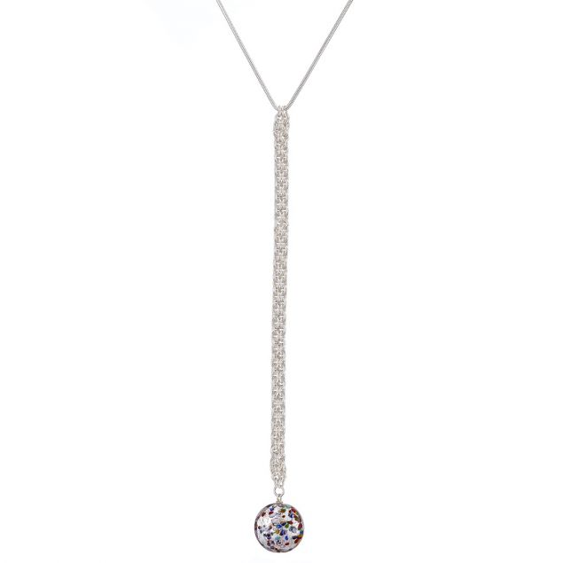 Murano Glass and Argentium Silver Drop Necklace