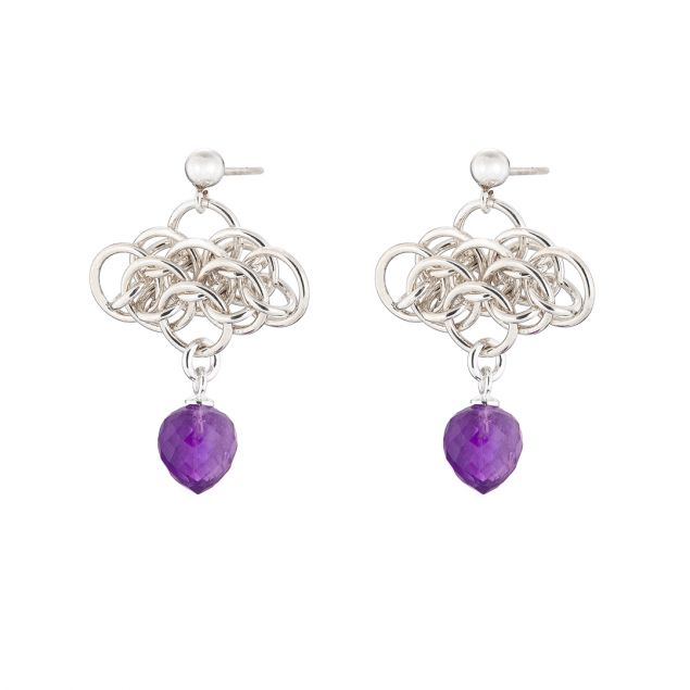 Nymph Amethyst Sterling Silver Chainmail Earrings