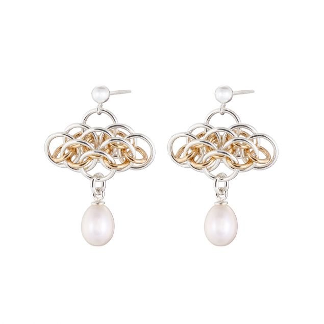 Nymph Pearl Silver and Gold Chainmail Earrings