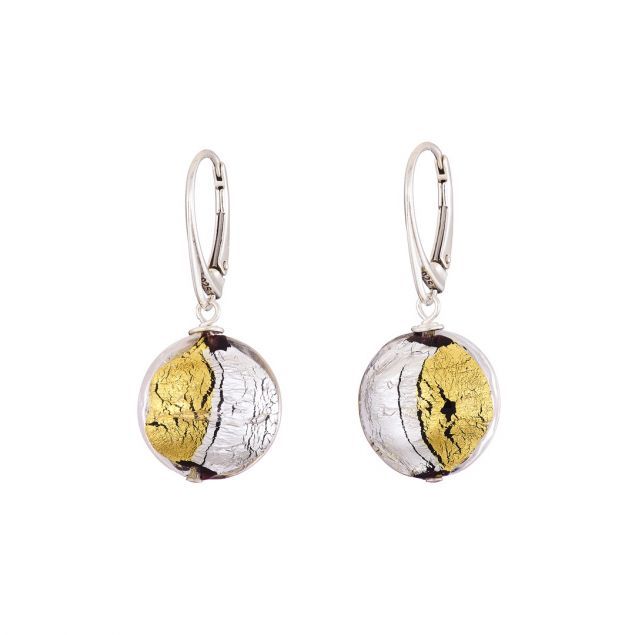 Sun and Moon Murano Glass Sterling Silver Earrings
