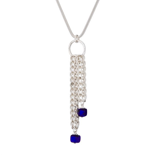 Twin Cubes Sterling Silver Chainmail and Murano Glass Necklace