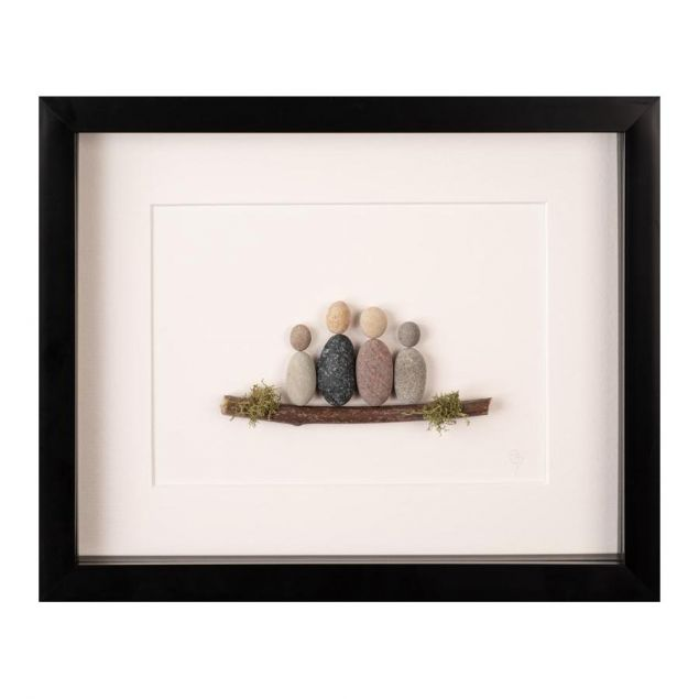 Our Family Personalised Irish Pebble Art Framed Picture
