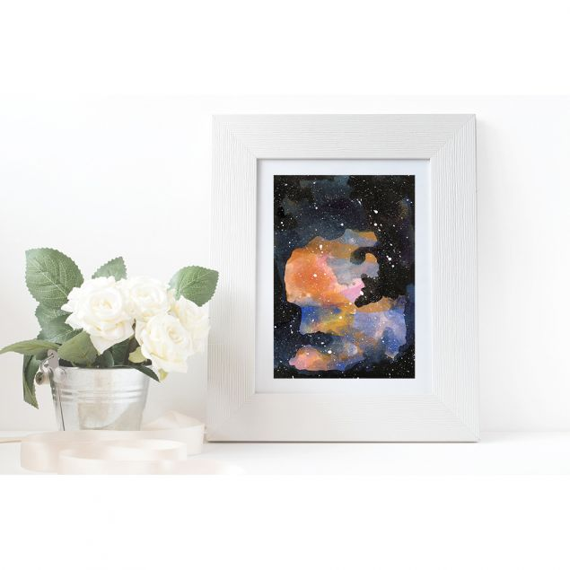 When We're Together Colourful Galaxy Fine Art Print (A5)