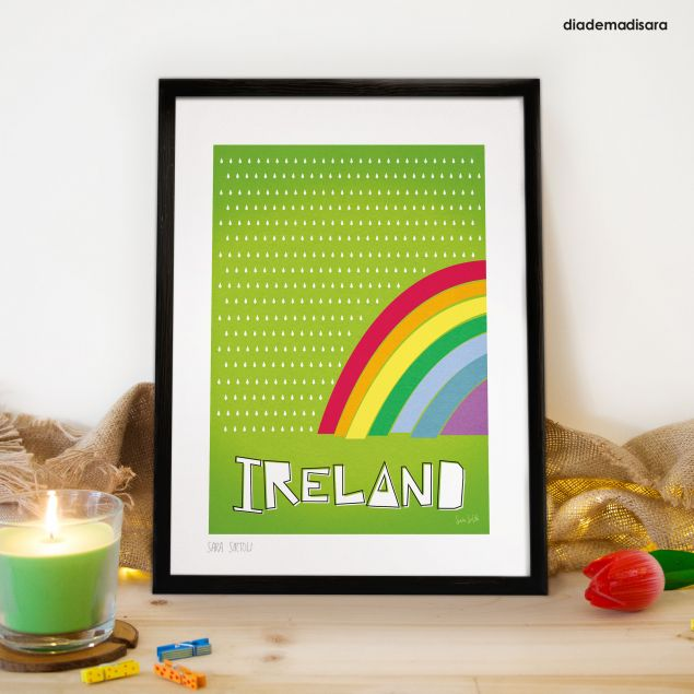 Irish Weather Rainbow A4 Signed Print