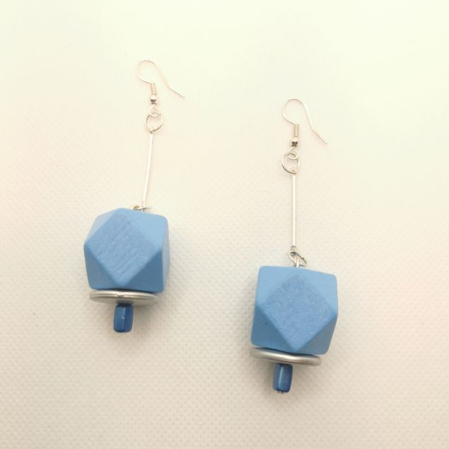 Blue Hexagon Wooden Cube  Earrings