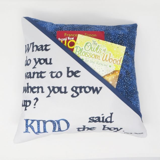 Kids Book Lover Cushion with Positive Quote
