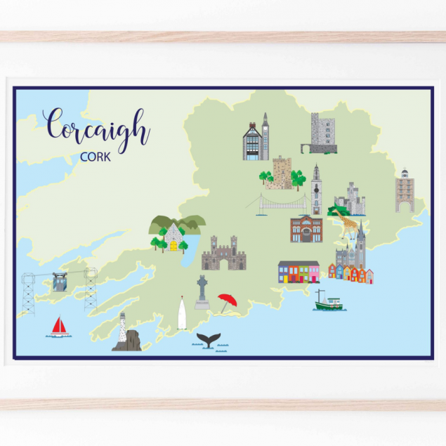 Colourful Landscape Map of Famous Landmarks in Cork