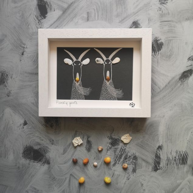 Handmade Personalised Funky Goats Seashell Framed Picture