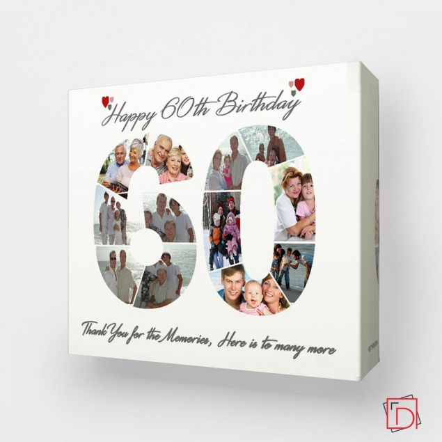 Personalised 60th Birthday Framed Photo Collage