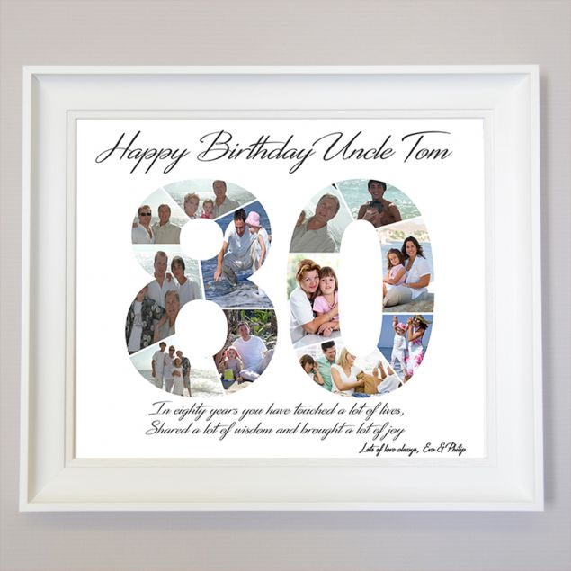 Personalised 80th Birthday Framed Photo Collage