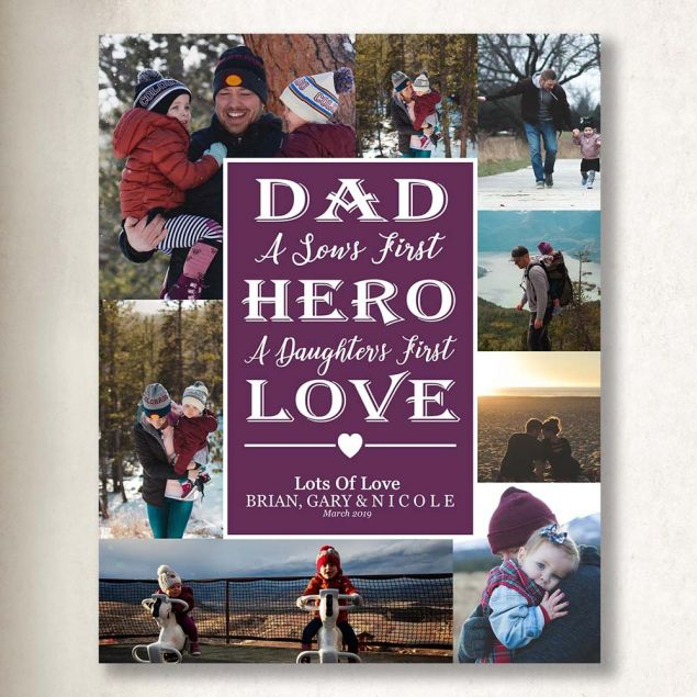 Personalised Dad Sons Hero & Daughters First Love On Canvas