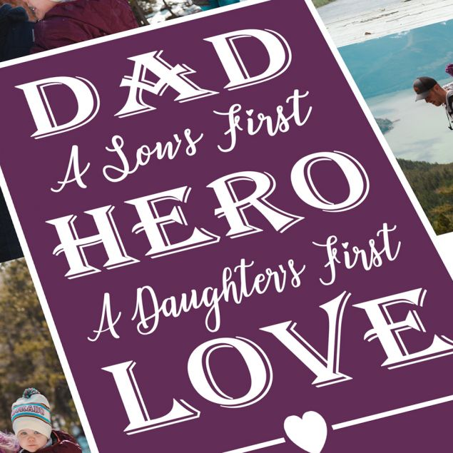 Personalised Fathers Day or Birthday Framed Photo Collage Gift
