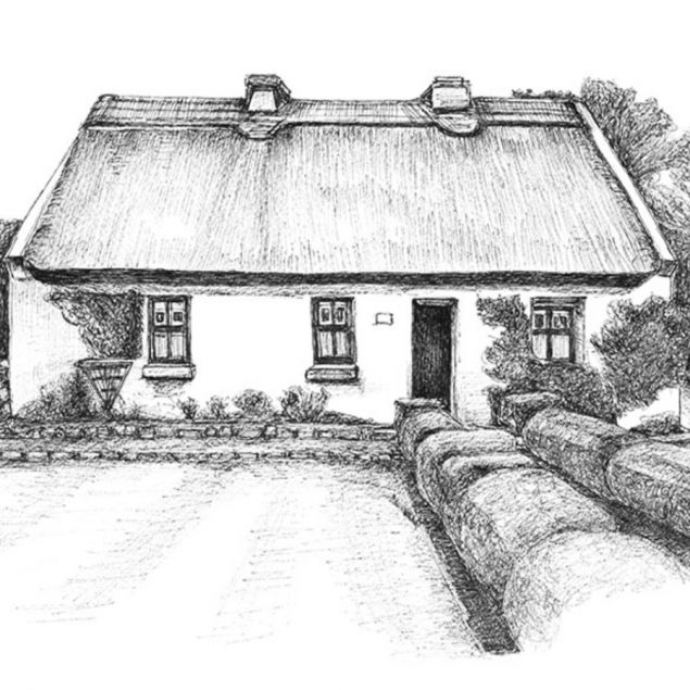 Art Print of a traditional Irish Cottage in Spiddal in Galway