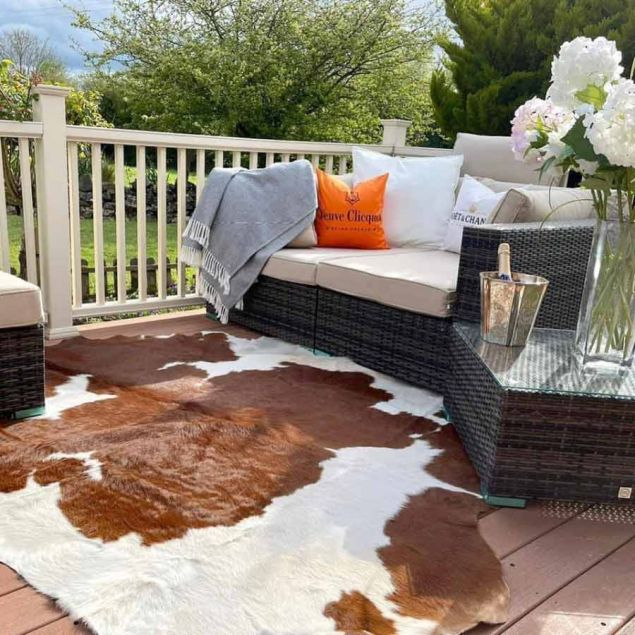 Extra Large Authentic Irish Brown and White Cowhide Rug