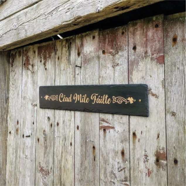 Natural Slate Irish Welcome Sign Cead Mile Failte in Rose Gold