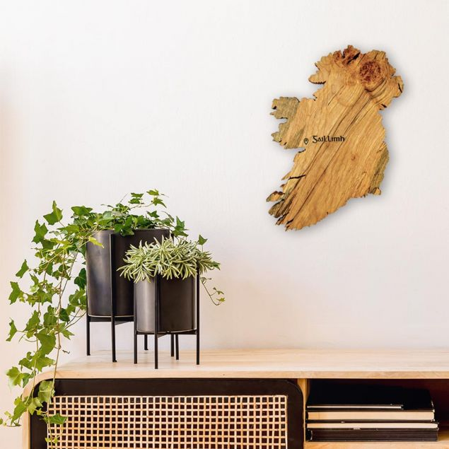 Engraved Wooden Map of Ireland Wall Art with choice of Location