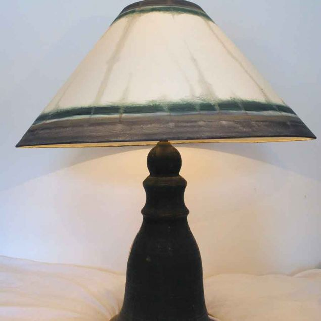 Grey Green Contemporary Hand Painted Lampshade