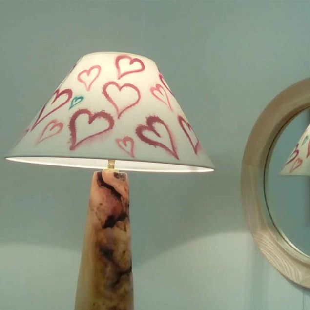 Hand Painted Lampshade with Love Hearts