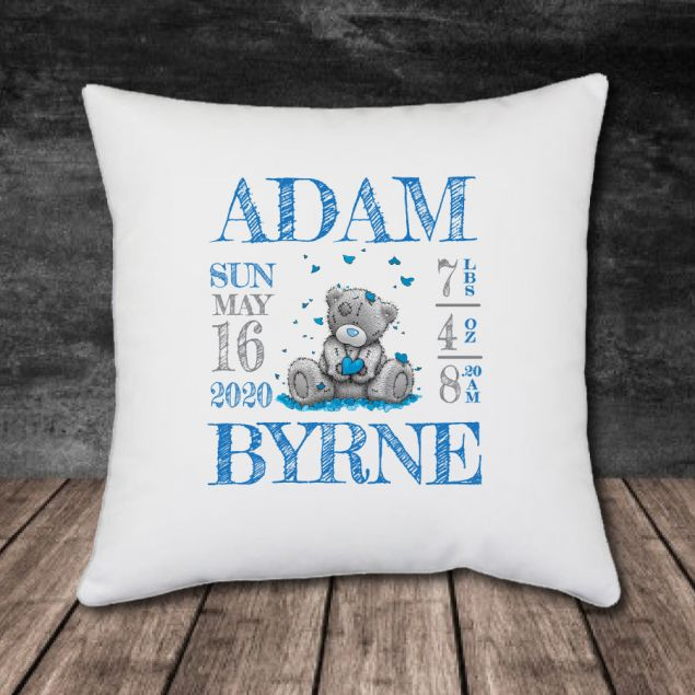 Personalised Newborn Baby Cushion with all the Birth Details