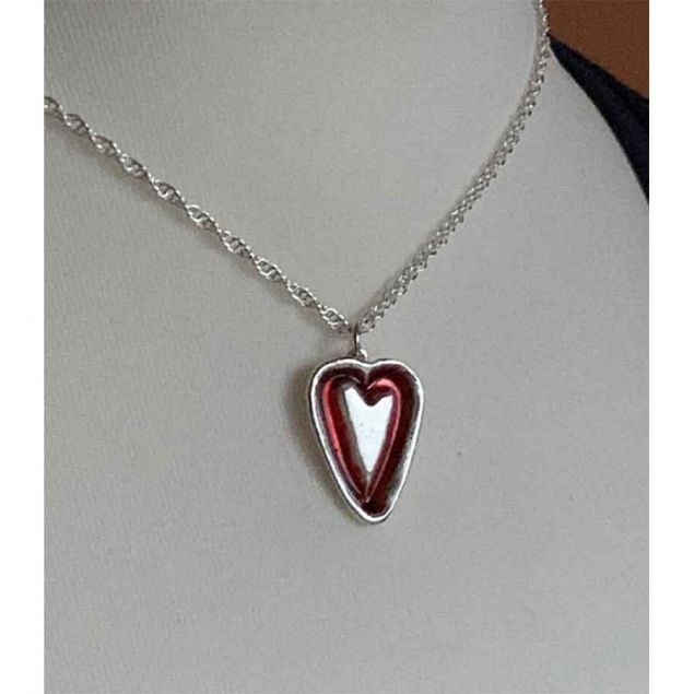 Red Love Heart Recycled Silver Necklace