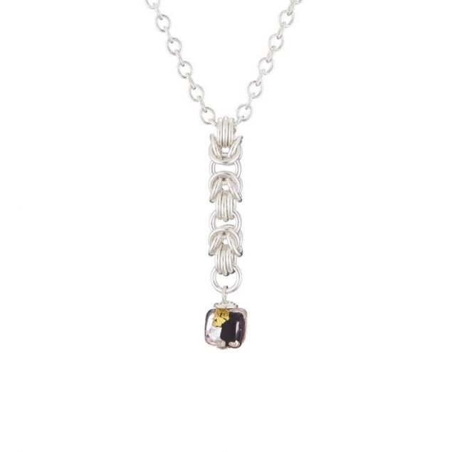 Black Shimmer Cube Sterling Silver and Glass Necklace