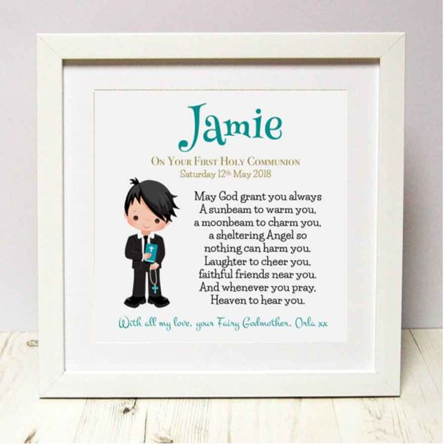 Personalised First Holy Communion Boy Framed Picture Gift