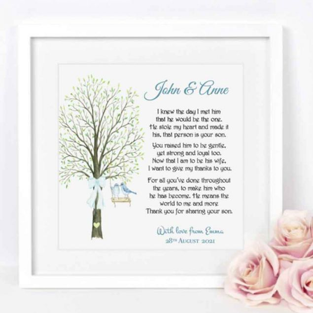 Personalised Framed Gift for the Parents of the Bride or Groom